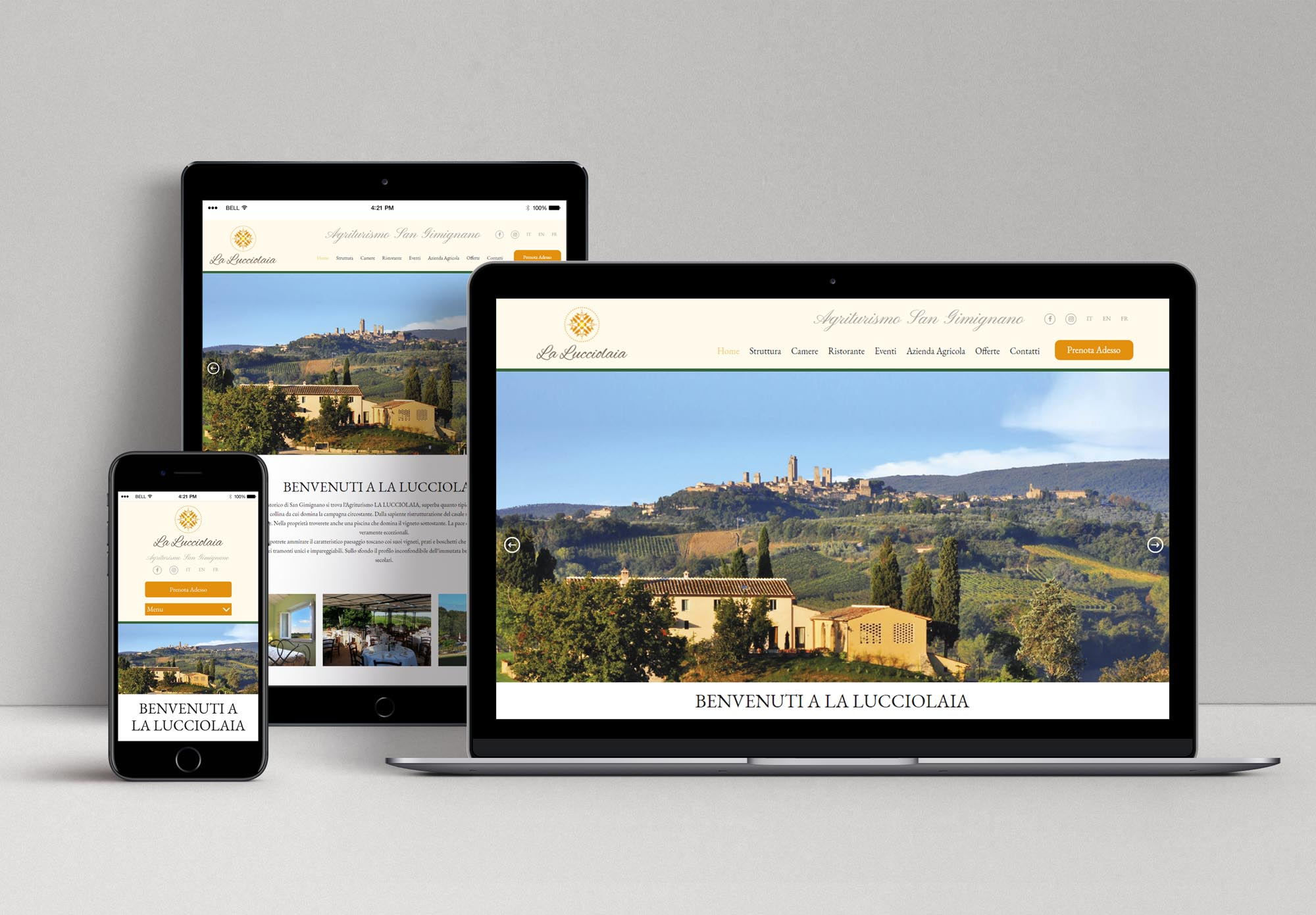 displaydesign marco bruni agriturismo la lucciolaia san gimignano web responsivo